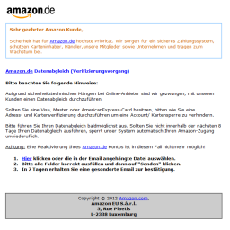Amazon Datenabgleich - Phishing E-Mail - ACHTUNG