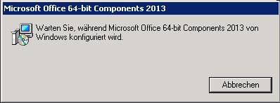 Microsoft Office 64-bit Components 2013: Warten Sie, während Microsoft Office 64-bit Components 2013 von Windows konfiguriert wird.